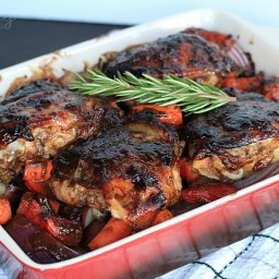 Mustard Balsamic Baked Chicken with Roasted Vegetables