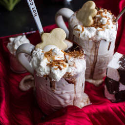 Naughty Nice Coconut KahluaHot Cocoa with Spiked Eggnog Marshmallows.