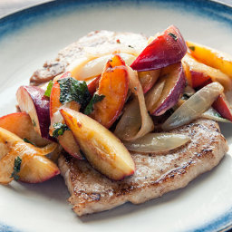 Nectarine and onion pork chops recipe