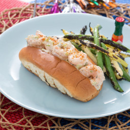 New England-Style Shrimp Rollswith Grilled Green and Yellow Wax Bean Salad
