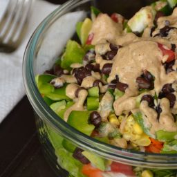 Nutritarian Fresh-Mex black bean and corn salad with lime and chili dressin