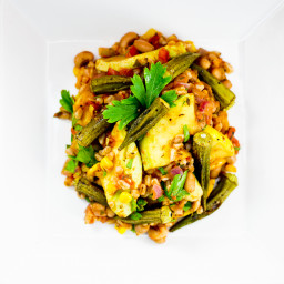 Okra, Black-Eyed Pea & Farro Bowl