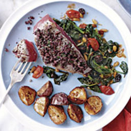 Olive-Crusted Tuna with Spinach Ragù