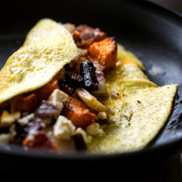 Omelets With Roasted Vegetables and Feta