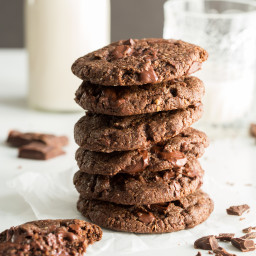 One Bowl Double Chocolate Chunk Cookies