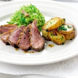 One-pan duck with Savoy cabbage