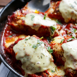 One Pan Mozzarella Stuffed Chicken Parmesan