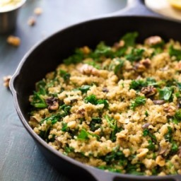 One Pan Quinoa with Mushrooms, Kale and Garlic Herb Butter