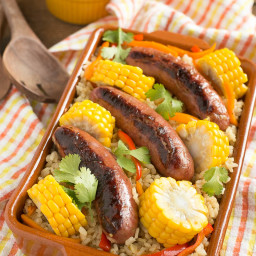 One Pot Sausage and Rice Bake