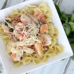 One Skillet Italian Chicken and Garlic Cream Sauce Recipe