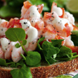 Open-faced sandwiches with shrimp, tomato, and lime mayonnaise