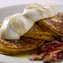Orange Pumpkin Pancakes with Vanilla Whipped Cream, Cinnamon Maple Syrup an