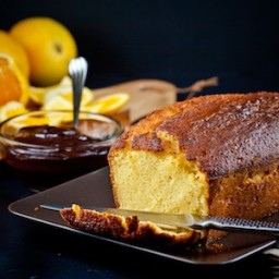 Orange-Scented Olive Oil Cake with Orange Compote and Chocolate Sauce