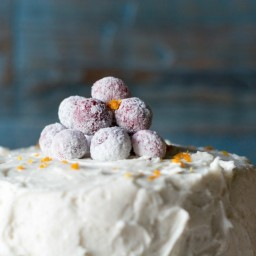 Orange Spice Cake with Cran-Raspberry Filling and Vanilla Bean Frosting