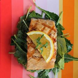Orange Glazed Salmon with Wilted Kale