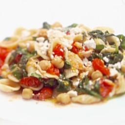 Orecchiette with Greens, Garbanzo Beans and Ricotta Salata