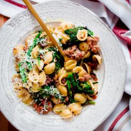 Orecchiette with Italian Sausage, Broccoli Rabe, Sun-Dried Tomatoes, and Ol