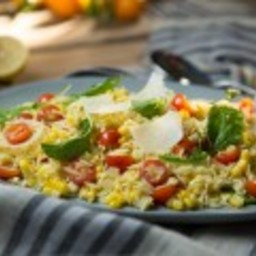 Orzo Salad with Corn, Arugula and Cherry Tomatoes