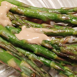 Oven-Baked Asparagus with Mustard Sauce