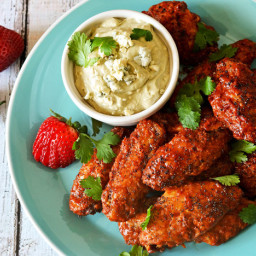 Oven-Baked Strawberry-Chipotle Wings With Avocado-Blue Cheese Dip