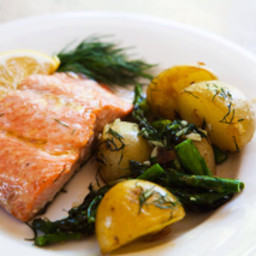 Oven-Roasted Salmon, Asparagus and New Potatoes