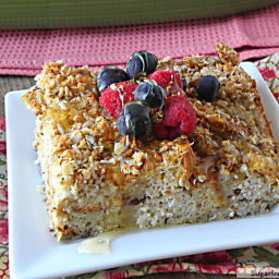 Overnight Cinnamon Crumble Baked French Toast: [Gluten, Sugar and Dairy Fre