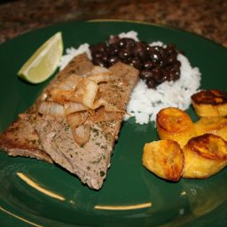Palomilla Steak with Black Beans, Rice and Sweet Plantains