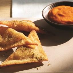 Pan-Fried Hummus Ravioli with Red Pepper Coulis