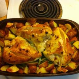 Pan Roasted Chicken with Lemon Garlic Beans