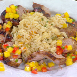 Pan-Roasted Lime Marinated Pork Tenderloin with Mango Salsa and Almond Rice