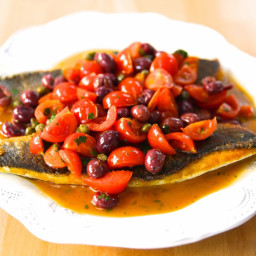 Pan-Seared Branzino with Tomato and Capers