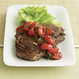 Pan-Seared Rib-Eye Steak with Balsamic Onion and Tomato Salsa