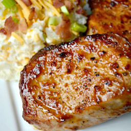 Pan Seared Barbecue Pork Chops with Loaded Baked Potato Salad