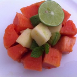 Papaya Apple Avocado Lime Salad