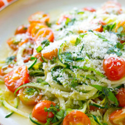 Parmesan Zucchini Noodles with Cherry Tomatoes