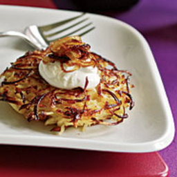 Parsnip Pancakes with Caramelized Onions and Sour Cream