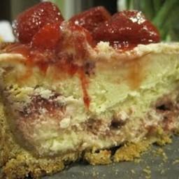 Passover White Chocolate and Raspberry Cheesecake