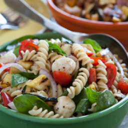 Pasta Salad with Grilled Summer Vegetables and Fresh Mozzarella