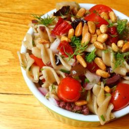 Pasta Salad with Tomatoes, Kalamata Olives and Toasted Pine Nuts