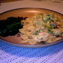 Pasta W/ Bacon, Chicken, Peas and Mushrooms