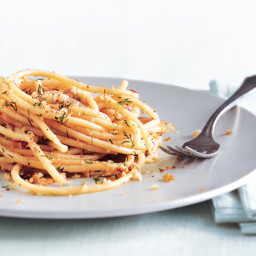 Pasta with Anchovies, Chile, and Dill Breadcrumbs