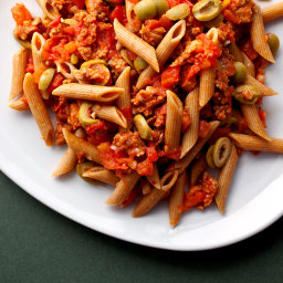 Pasta With Spicy Sausages, Tomatoes, Rosemary and Olives