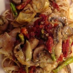 Pasta with Tuna, Sun-Dried Tomatoes, Artichoke Hearts, Lemon, and White Win