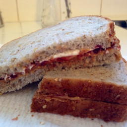 Peanut Butter and Raspberry Jam Sandwich with Cream Cheese