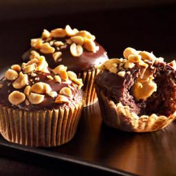 Peanut Butter Cream-Filled Devil's Food Cupcakes