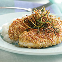 Peanut-Crusted Tilapia with Frizzled Ginger and Scallions