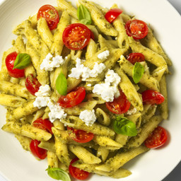 Penne with Basil Pesto, Cherry Tomatoes and Ricotta