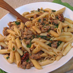 Penne Rigate with Turkey, Swiss Chard and Walnuts