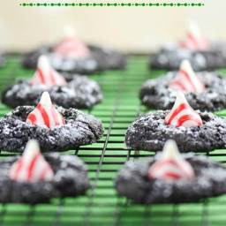 Peppermint Kiss Chocolate Crinkle Cookies