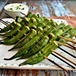 Peppery Grilled Okra